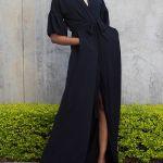 Erre Gather Short Sleeve Coverup Black
