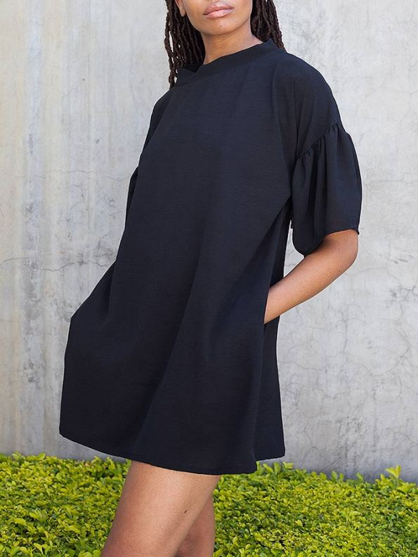Erre Glide Easy-fit Dress Black Cropped
