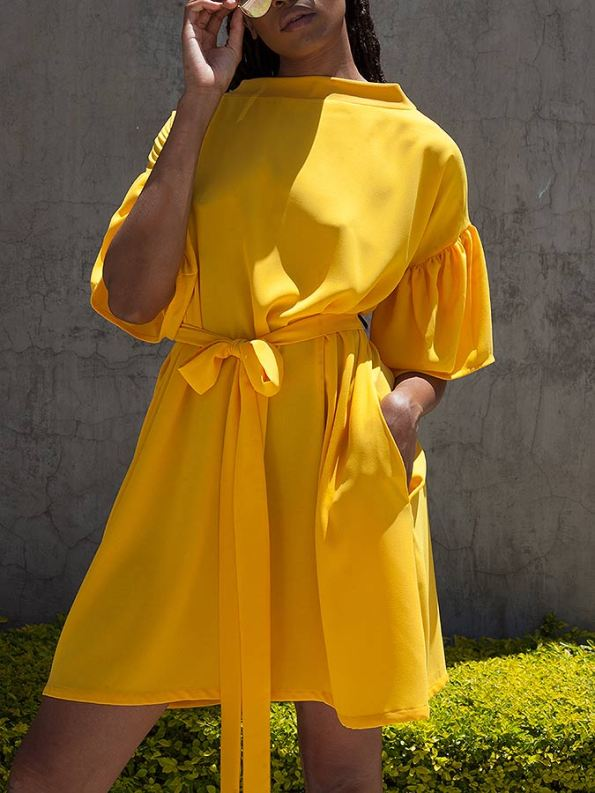Erre Glide Easy-fit Dress Yellow Cropped