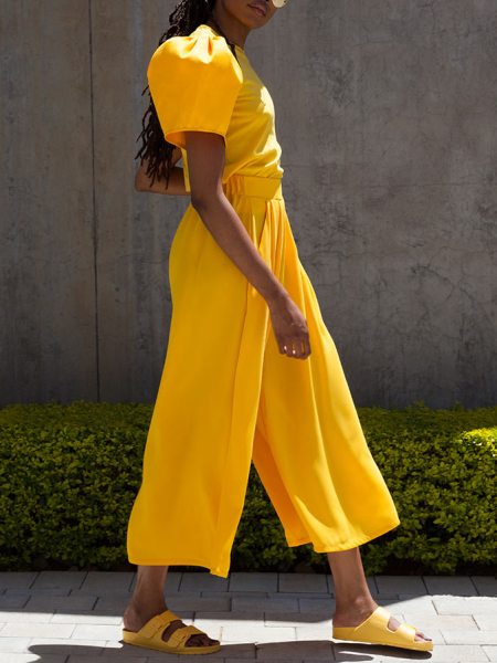 yellow puff sleeve T-shirt and culottes South Africa