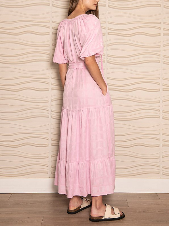 Smudj Chasing Aimee Swing Dress Pink Back Angle