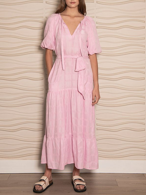 Smudj Chasing Aimee Swing Dress Pink Front