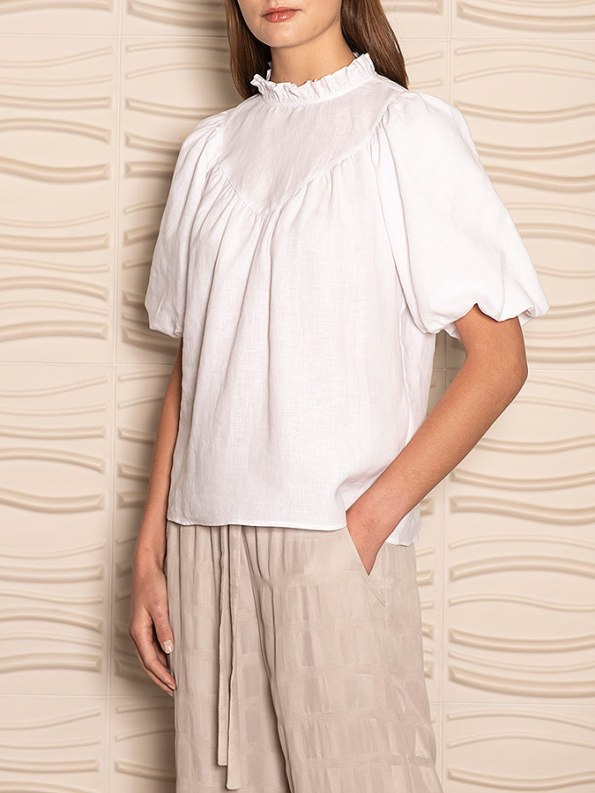 Smudj Jazzy-G Top White Linen Crop Side