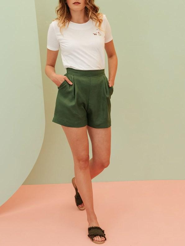 Good Gardening Shorts Green Linen Blend Front