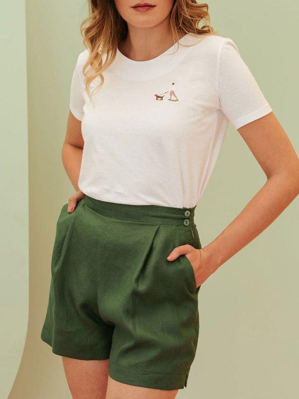 Good Gardening Shorts Green Linen Front Crop