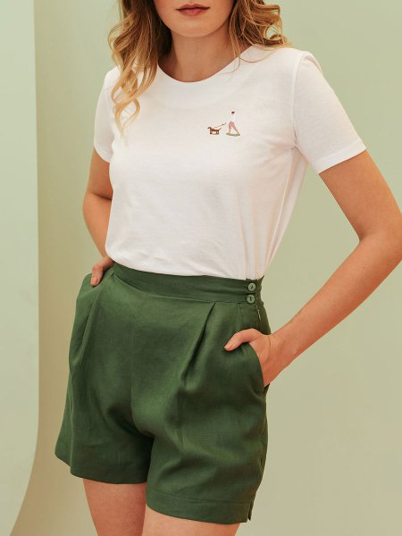 green linen short for women South Africa