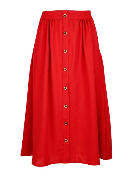 red skirt South Africa Buttons High Waist