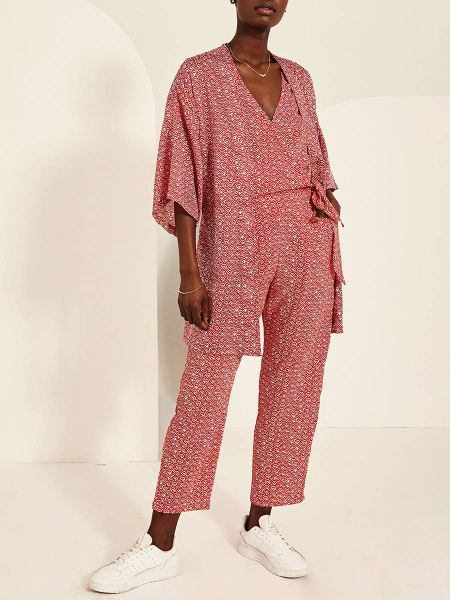 red and white satin kimono and jumpsuit South Africa