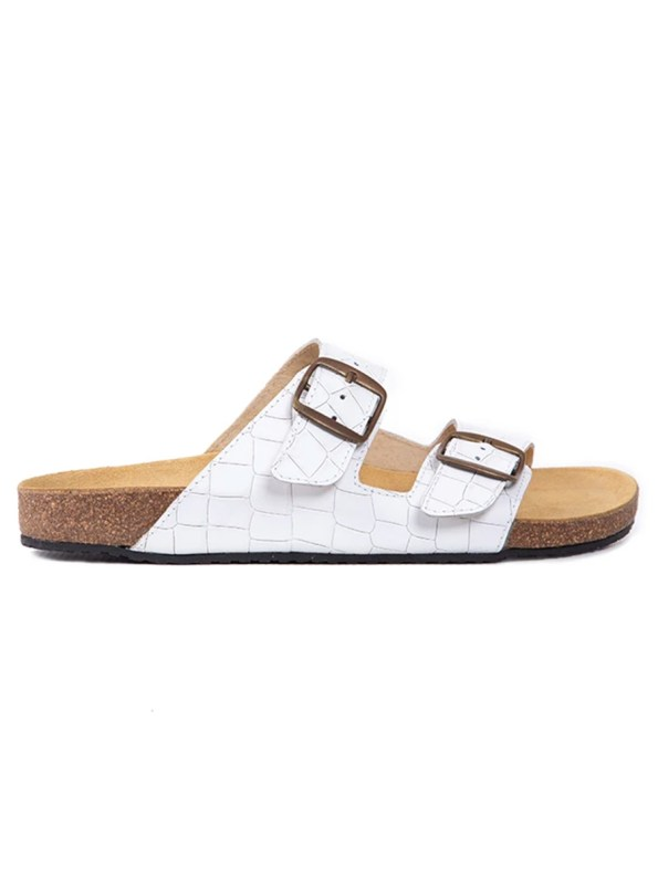 White mock croc leather sandals for women South Africa