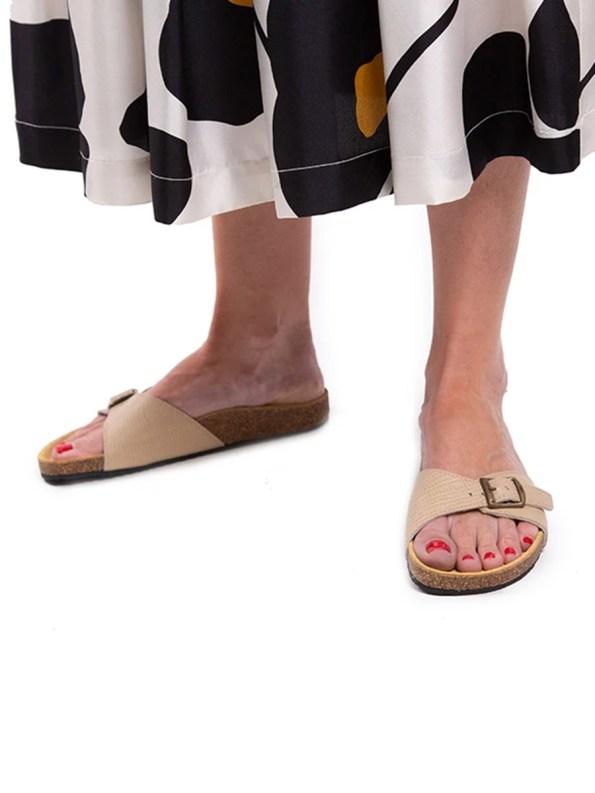 House of Cinnamon Glenda Leather Sandal Single Beige Model