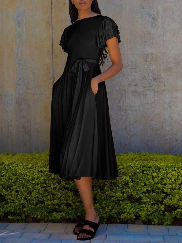 Erre Flutter Dress Black Front