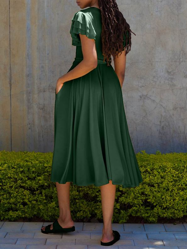 Erre Flutter Dress Emerald Green Back