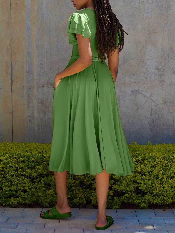 Erre Flutter Dress Spring Green Back_