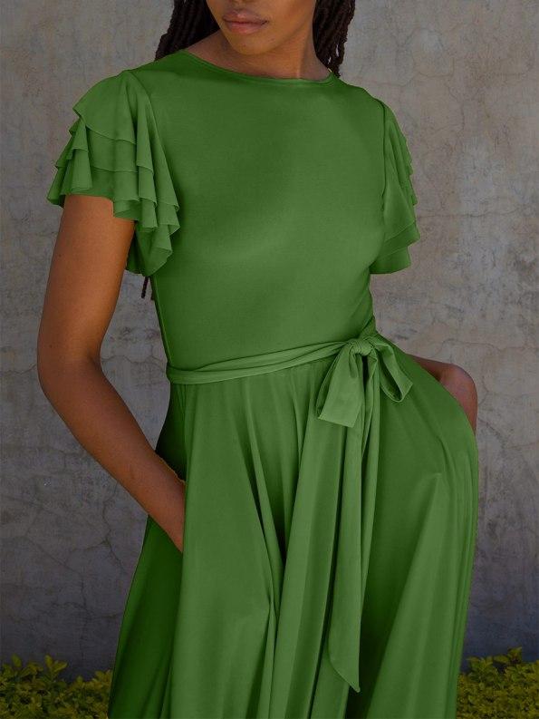 Erre Flutter Dress Spring Green Crop
