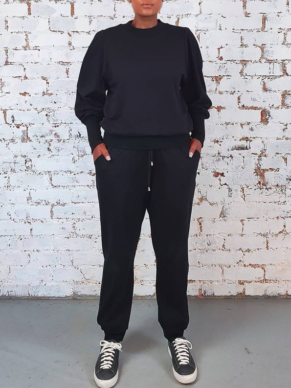 JMVB Athleisure Puff Sleeve Tracksuit Black Front