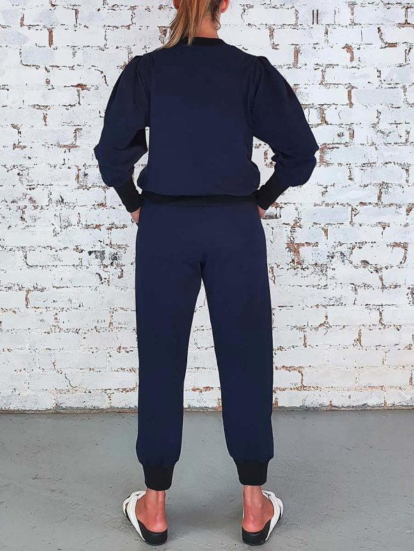 JMVB Athleisure Puff Sleeve Tracksuit Navy Back