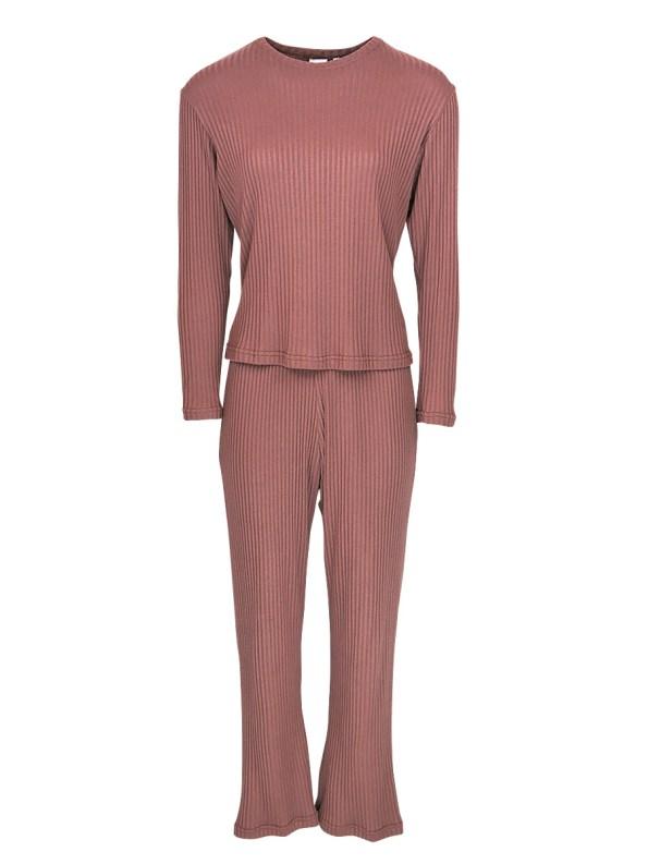 JMVB Lux Loungewear Set with LS Top Cognac _SHPN100