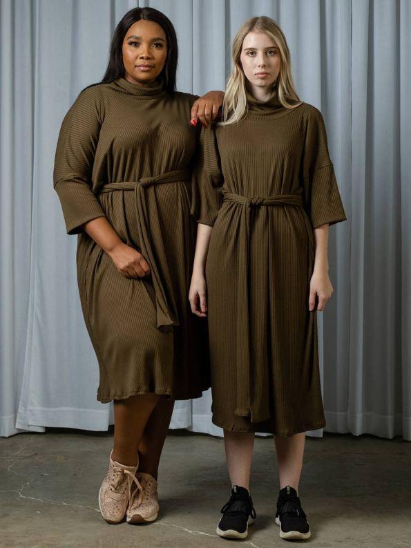 IDV Knit Polo Dress Olive