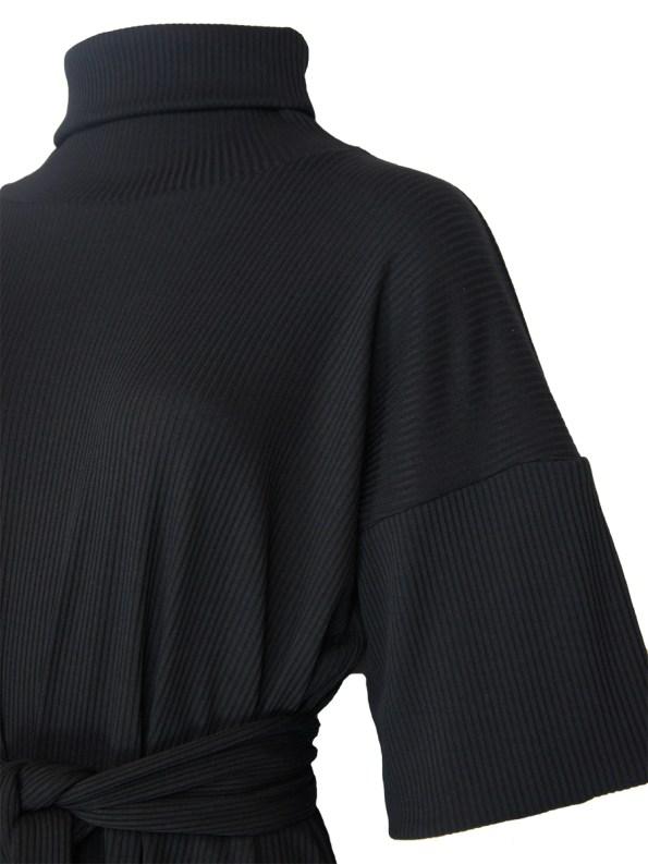 IDV Knit Polo Midi Dress Black Detail