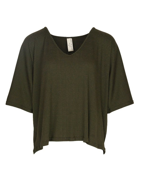 IDV V-neck Top Ribbed Knit Olive