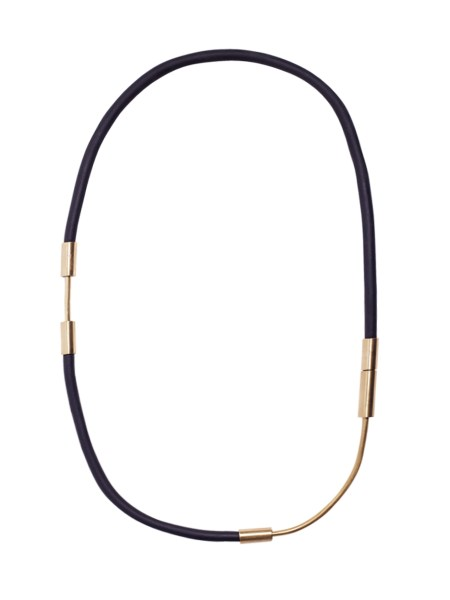 long necklace made from rubber and brass South Africa