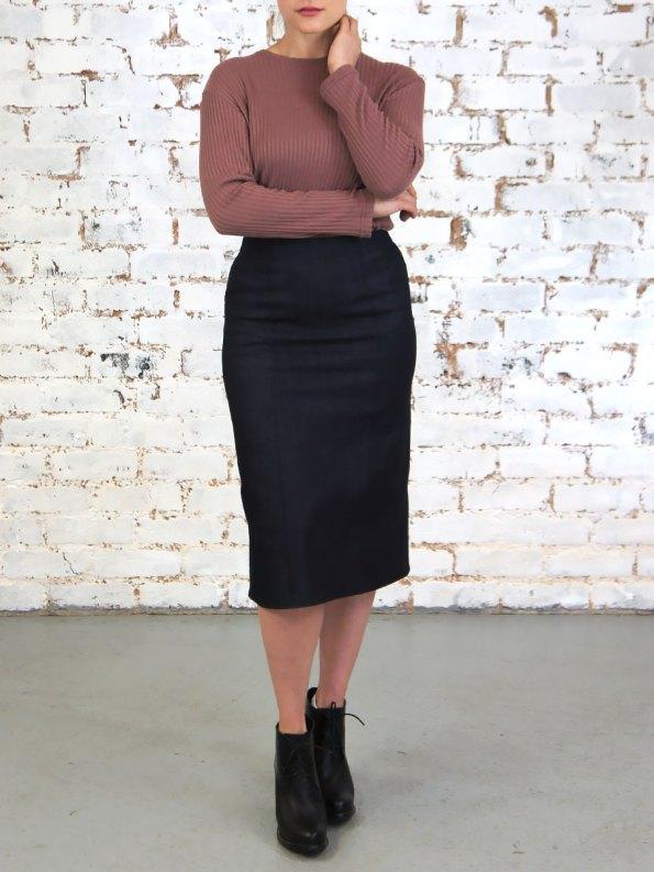 JMVB Denim Pencil Skirt Indigo Front _Expo0.45 SHPEN110