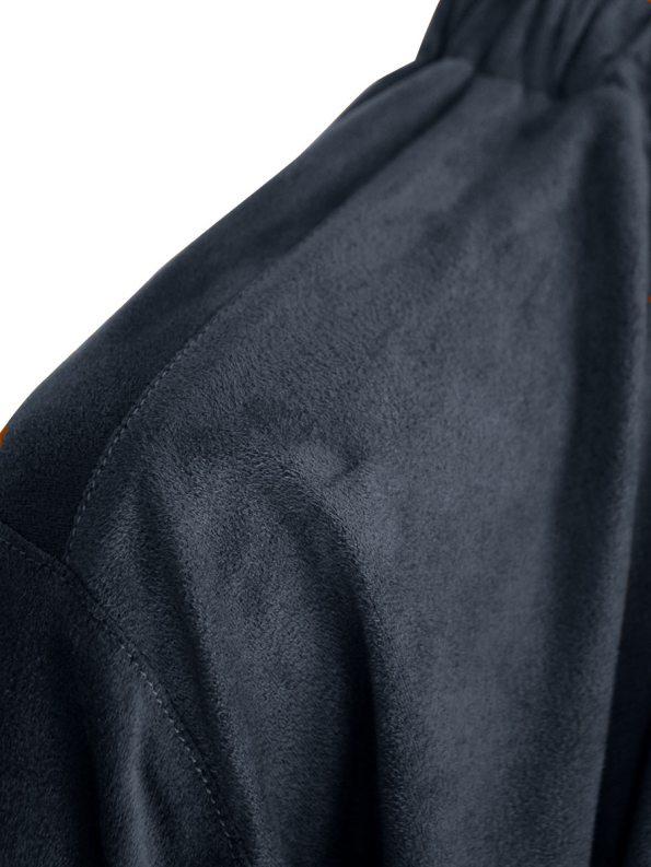 JMVB Faux Suede Top Charcoal Detail