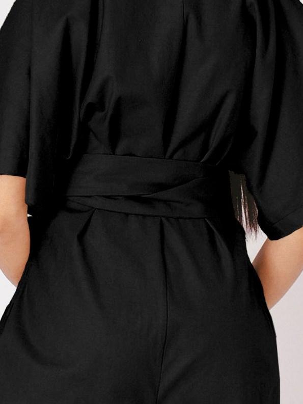 Mareth Colleen Niko Jumpsuit Black Linen Blend Crop Back
