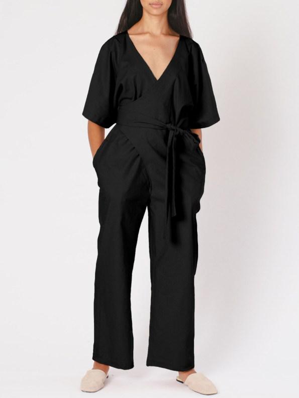 Mareth Colleen Niko Jumpsuit Black Linen Blend Front