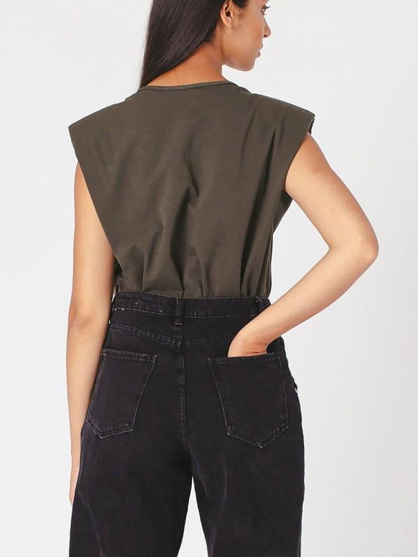 Mareth Colleen Shoulder Pad T-Shirt Olive Green Back