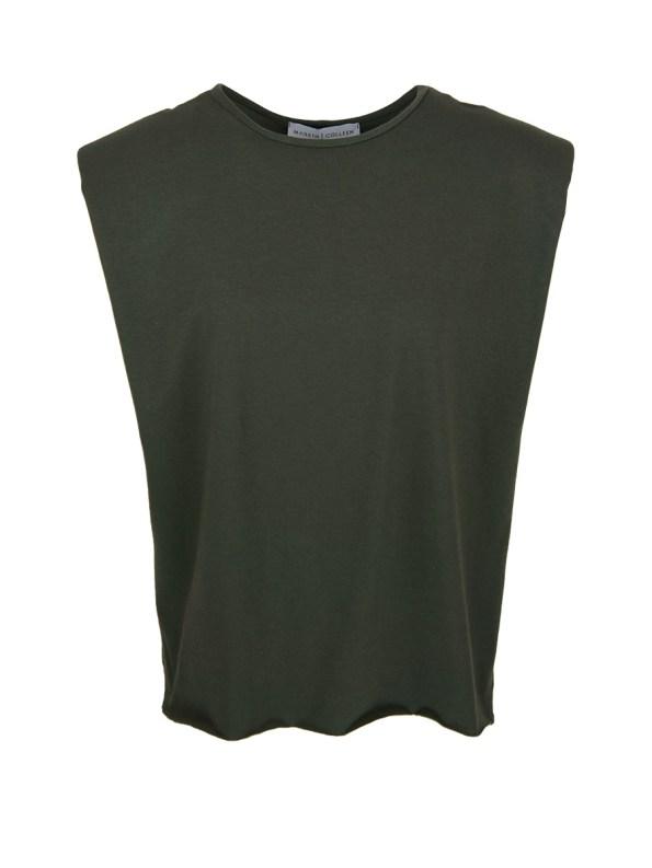 Mareth Colleen Shoulder Pad T-Shirt Olive Green
