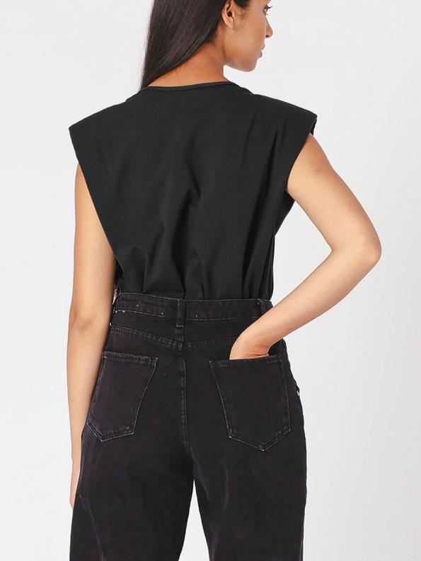 Mareth Colleen Shoulder Pad T-shirt Black Back