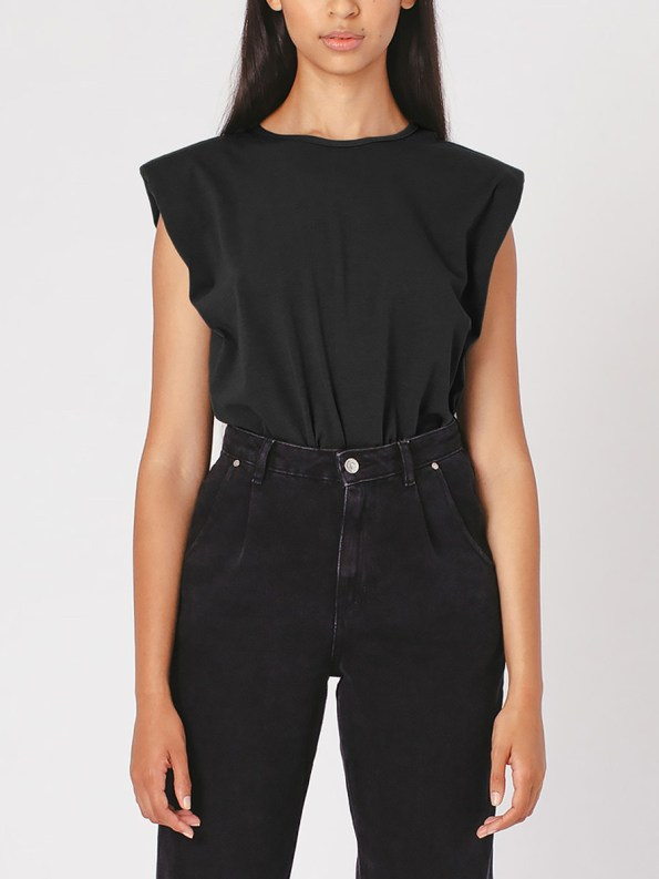 Mareth Colleen Shoulder Pad T-shirt Black Front