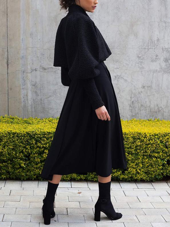 Erre Kingpin Cropped Jacket Black with Commander Dress 2