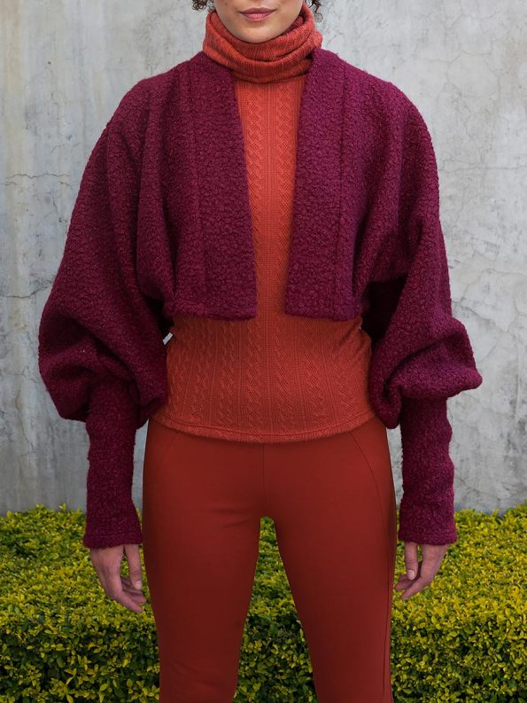 Erre Kingpin Cropped Jacket Cranberry Front