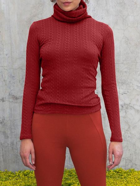 wine red ladies polo neck top South Africa