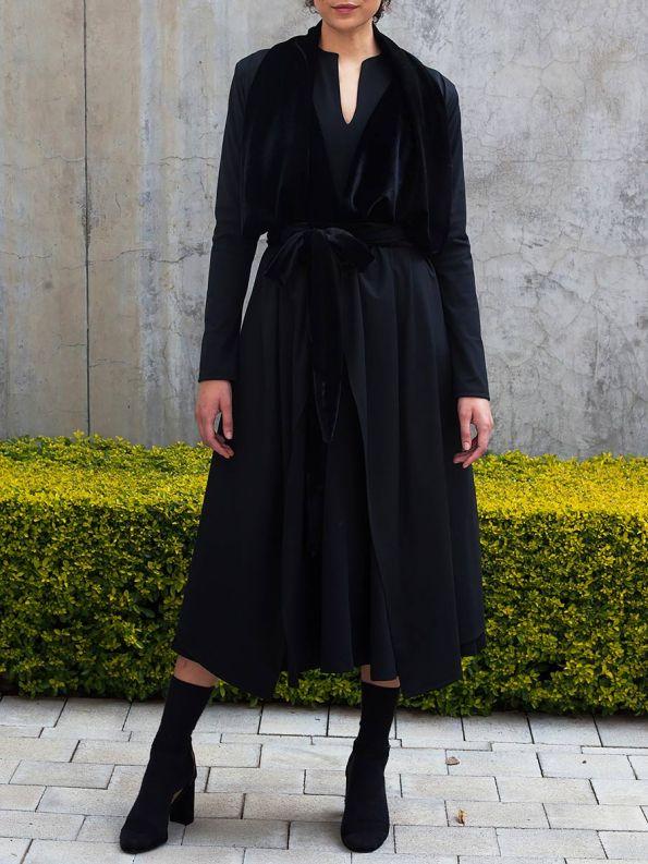 Erre Velvet Waterfall Coat Black 3