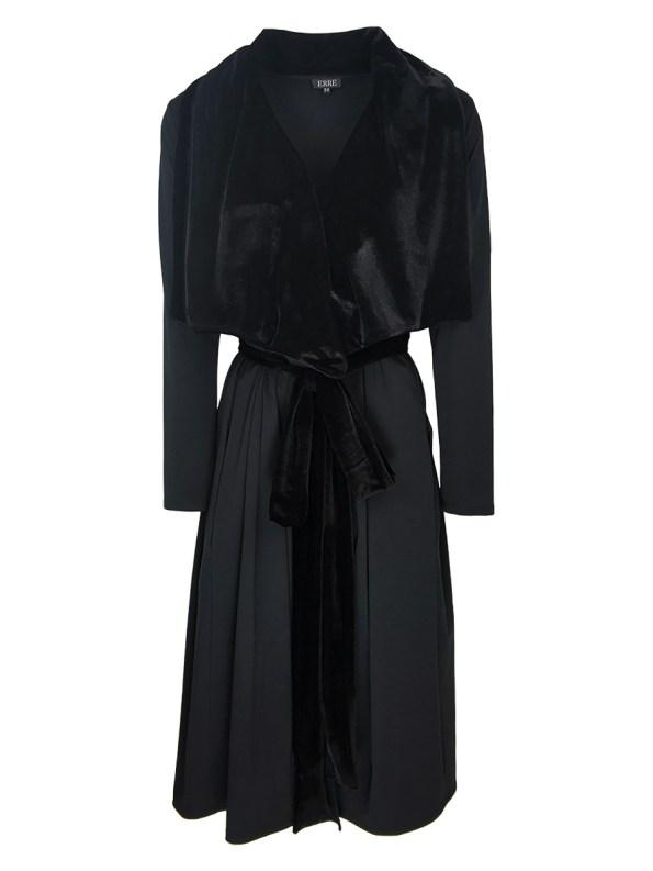 Erre Velvet Waterfall Coat Black