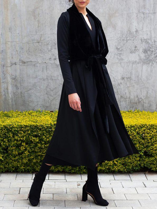 Erre Velvet Waterfall Coat Black 5