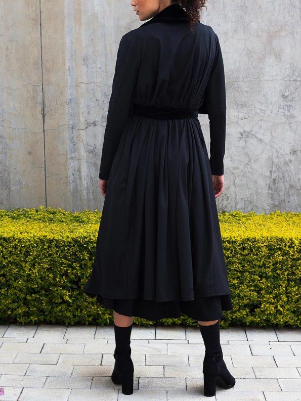 Erre Velvet Waterfall Coat Black 6