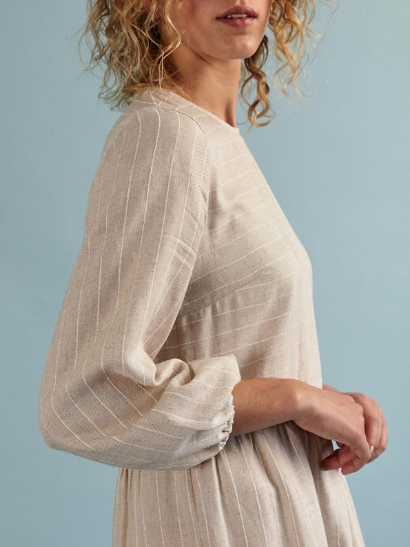 Good Short Tea Frill Natural with Stripe Detail
