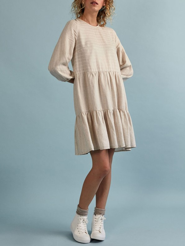 Good Short Tea Frill Natural with Stripe Front 2
