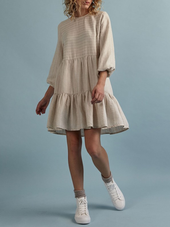 Good Short Tea Frill Natural with Stripe Front