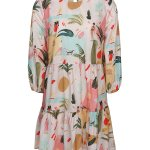 short tiered print dress with Kirsten Sims Art