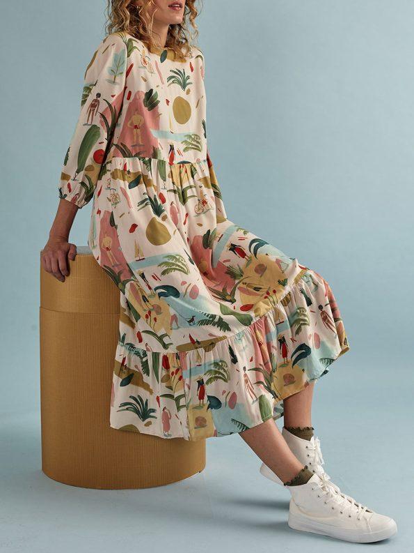 Good Tea Frill Dress Pink KS Sit