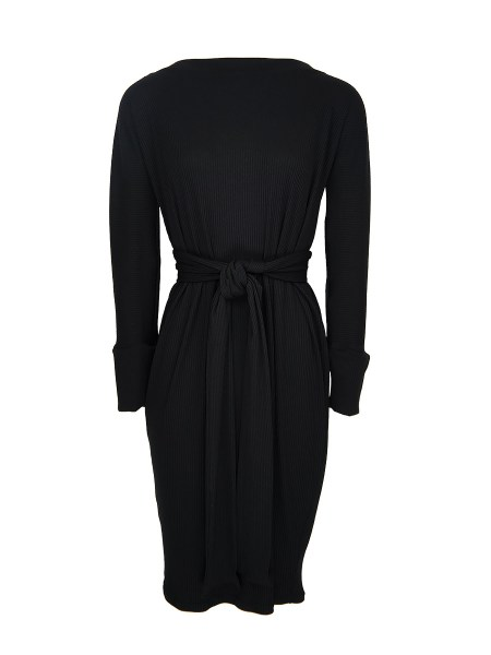 a black cocoon dress with belt
