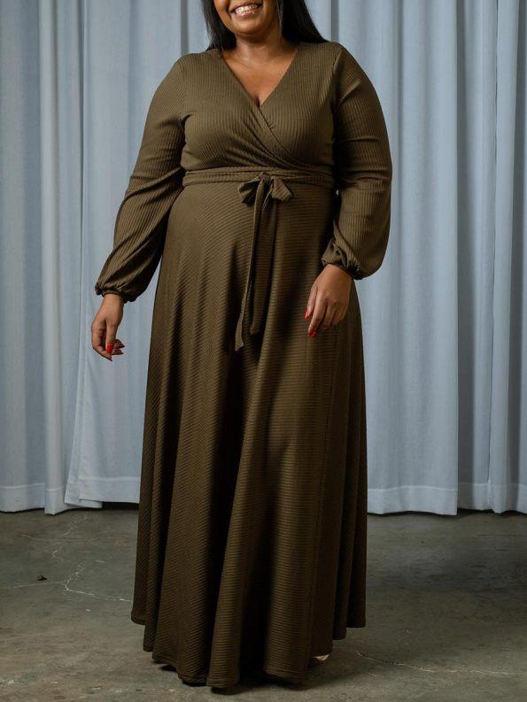 IDV Knit Maxi Wrap Dress Olive 1