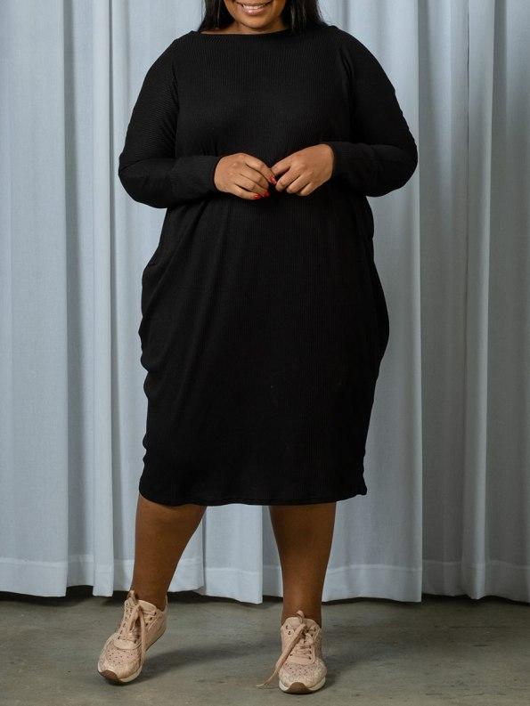 IDV Knit Cocoon Dress Black 1