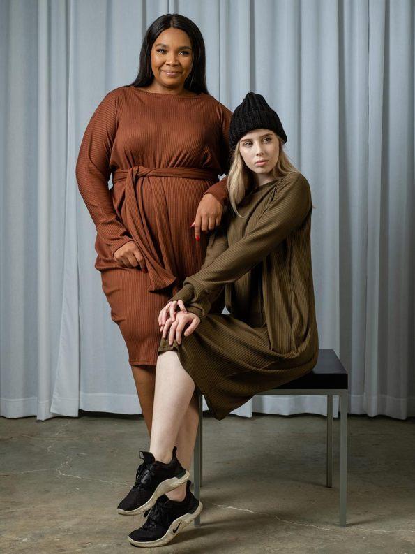 IDV Knit Cocoon Dress Copper Olive