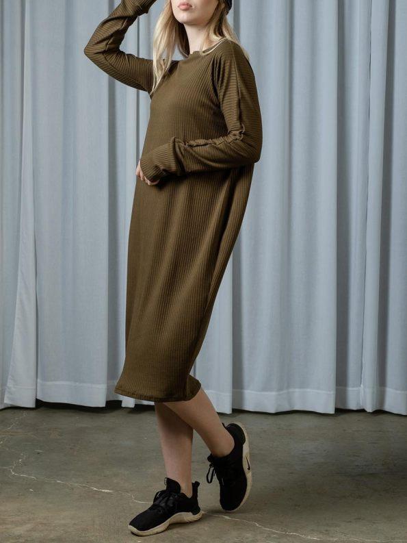 IDV Knit Cocoon Dress Olive 1